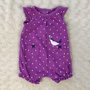 Carter's Newborn Baby Girl Bird Romper Purple